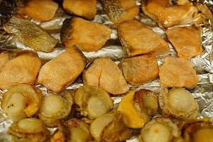 鮭とホタテの焼きびたし 調理